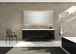 Limestone wall tile, black sink, elegant luxury bathroom, chair