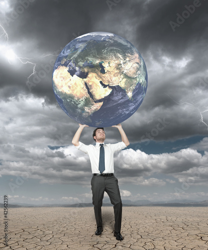 Businessman protects the world