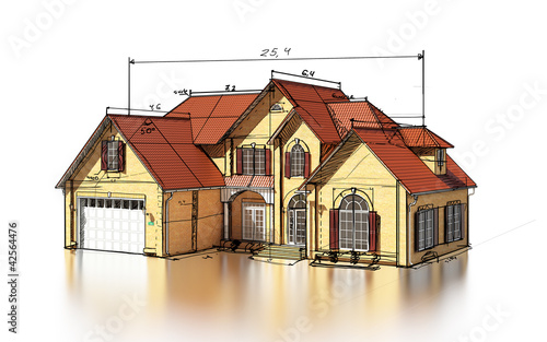 scetch brick house