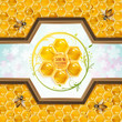 Honey and bees over floral background