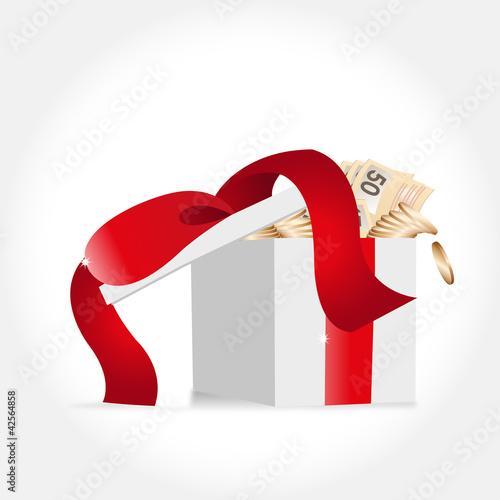 geschenksschachtel mit geld gefüllt