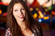 Portrait of beautiful  woman in night city. Shallow DOF.