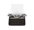 Retro rusty typewriter isolated on white background