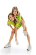 Active sporty girls playing
