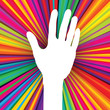 Hand silhouette on psychedelic colored abstract background. Vect