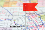 Detroit flagged on a map