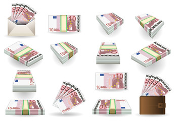 full set of ten euros banknotes