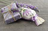 Fototapety lavender soap with fresh flowers