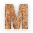 3d Font Wood Character M