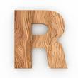 3d Font Wood Character R