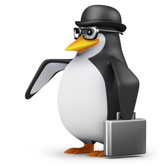 3d Penguin in glasses with briefcase and bowler