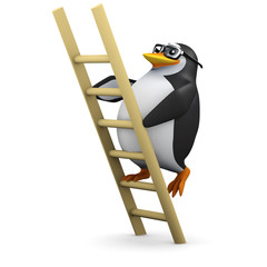 3d Penguin in glasses climbs ladder