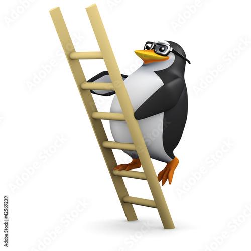 3d Penguin in glasses climbs ladder