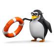 3d Penguin in glasses throws life ring