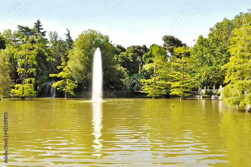 pond with water spurt