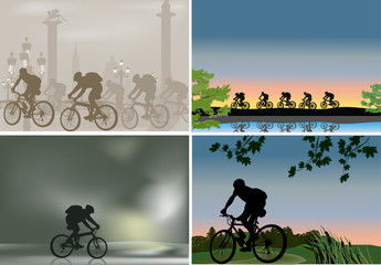 four illustrations with outdoor cyclist