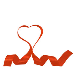 red ribbon heart red shape isolated