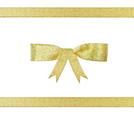 golden ribbon gift present bow isolated on white