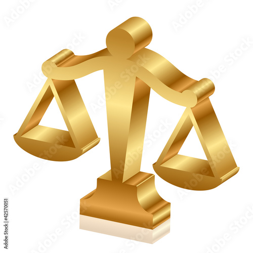 Vector 3d icon of golden justice scales