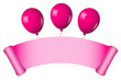 Vector illustration of pink scroll with balloons