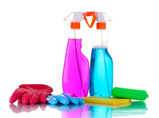 Cleaning product, gloves and sponges isolated