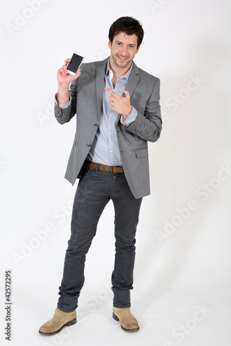 Smart guy pointing at smartphone screen