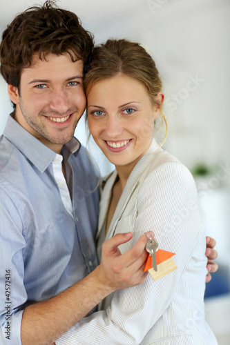 Closeup of happy new property owners