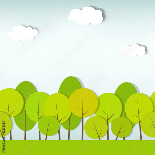 trees and shrubs. seamless vector pattern