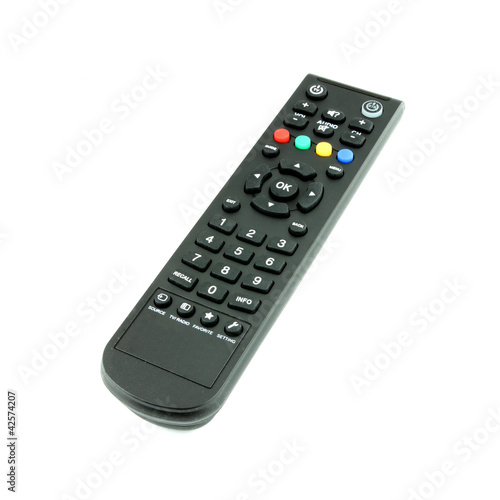 black TV remote control on white