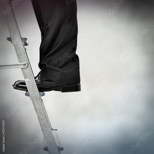 standing on stepladder