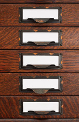 Old Flat File Drawers With Blank Labels