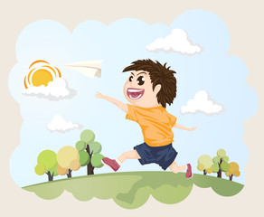 A child throwing paper airplane