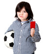 Boy with a red card