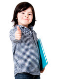 Young student with thumbs up