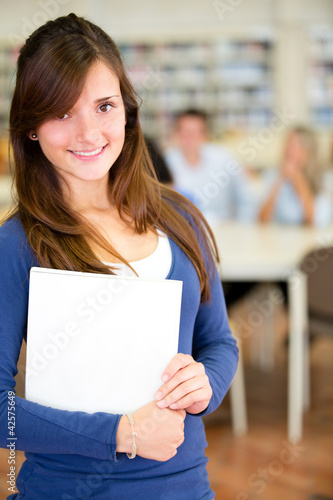 Female student at the library