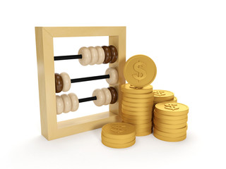 3d illustration: Accounting. The accounts and the group of money
