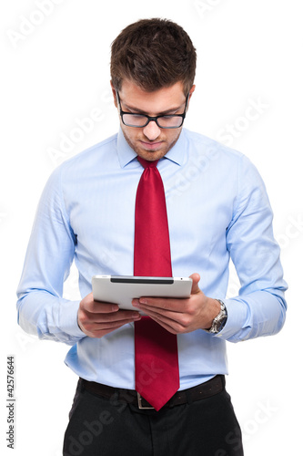 Handsome man with tablet computer