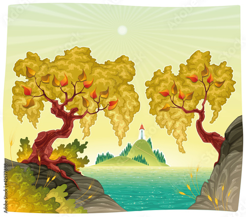 Romanitc landscape on the sea. Vector illustration.