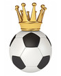 Soccer ball with a golden crown. 3d render