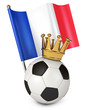 Soccer ball with a golden crown. Flag of France