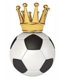 Soccer ball with a golden crown. 3d render