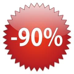 sticker red percentage 90