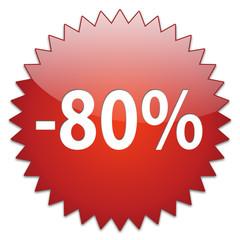sticker red percentage 80