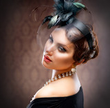 Fototapety Retro Beauty Portrait. Vintage Styled. Beautiful Young Woman