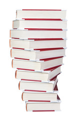 A stack of books spiral closeup on a white background.