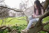 Young woman sitting on tree branch while text messaging