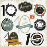 10 years anniversary signs and cards vector design