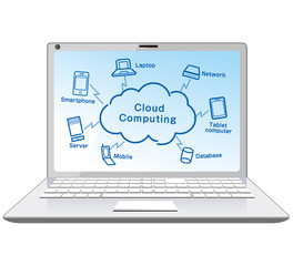 Cloud computing in laptop  vector