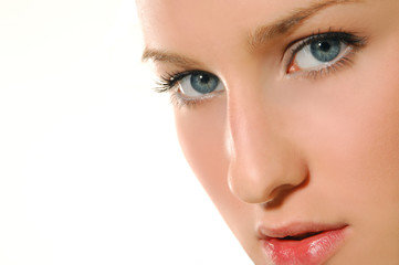 Close-up of beautiful young woman face