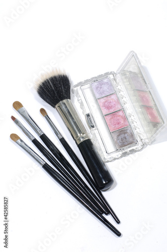 makeup eye-shadows and cosmetic brush